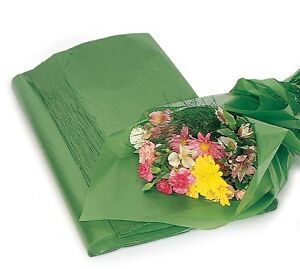 Green floral waxed tissue paper bouquet wrapping 24x36 x large image is loading green floral waxed tissue paper bouquet wrapping 24 mightylinksfo Gallery