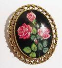 broche ancienne bijou vintage couleur or camée porcelaine peint rose rouge 2805