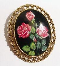 broche bijou vintage couleur or camée porcelaine peint main rose rouge 2805