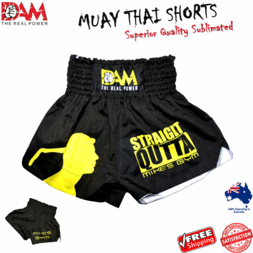 NEW KICK BOXING DAM Pro Black MUAY THAI BOXING SHORT MMA BOXING MUAY THAI