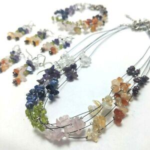 WHOLESALE 5 pack Chakra Bracelet Necklace or Earrings Genuine Premium Crystal CK