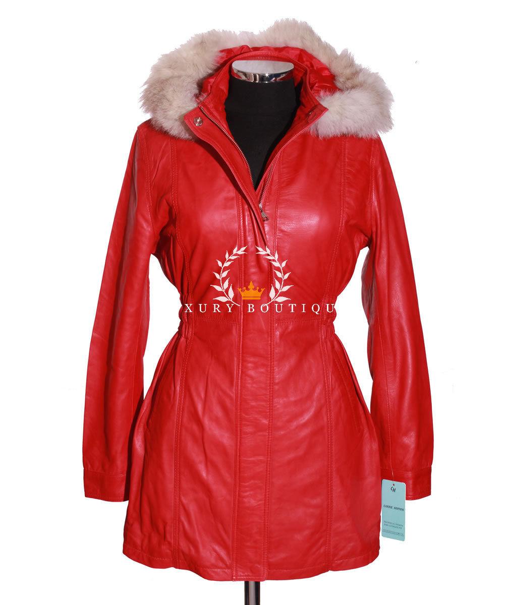 Juliet rojo piel con capucha inteligente de las Señoras Diseñador  Piel de cordero cuero chaqueta de abrigo largo  las mejores marcas venden barato