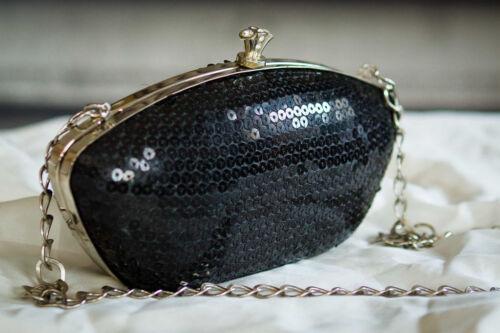 Etui Paillette Noire Pochette Fermoir Diamante Soirée wEf55ndq