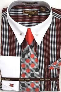 Men-039-s-Dress-Shirt-Tie-Hanky-Set-Plaid-White-Black-Red-Cuff-Links-French-Cuff
