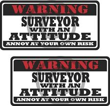 """2 - 3"""" Surveyor Worker Warning Tools Auto Motorcycle Decal Hat Sticker WS1"""