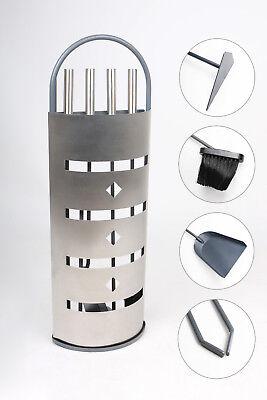Kaminbesteck 5-teilig Aluminium Kamingarnitur Kaminwerkzeug Kaminset silber