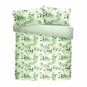 FLORAL FLOWERS LEAVES GREEN WHITE COTTON BLEND KING SIZE DUVET COVER