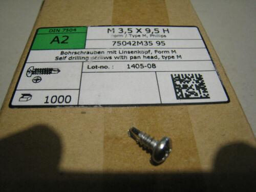 1000 selbstschneidende Bohrschrauben 3,5x9,5 mm Edelstahl A2 Linsenkopf PH