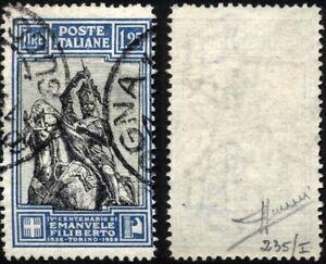 Regno-1928-Lire-1-25-Emanuele-Filiberto-usato-n-235-I-Firmato-Sorani