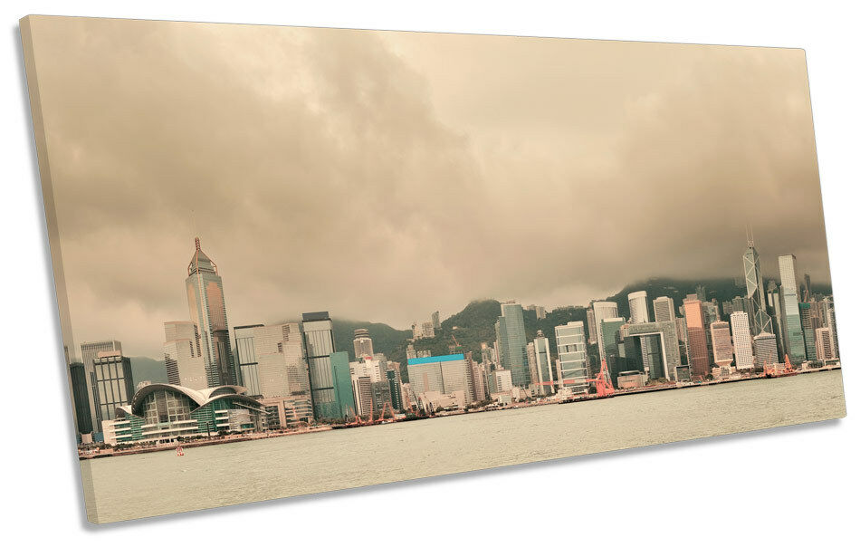 Hong Kong Skyline Misty BOX FRAME CANVAS CANVAS CANVAS ART PANORAMA Print 38e111