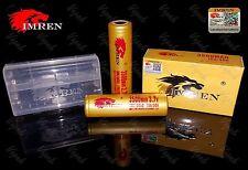 2 Imren GOLD 18650 3500mAh 15A/30A HIGH DRAIN Flat Top Battery  / Imren Case