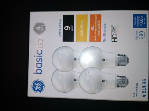 GE Basic LED 5.5W Replaces 40W Bulb 380 Lumens A19 Bulb Medium Base 4 Pack *