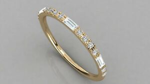 0-24Ct-Baguette-amp-Round-Diamond-Minimalist-Stackable-Wedding-Band-9kt-Solid-Gold