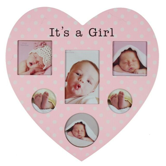 It/'s A Girl Baby Photo Frame Wooden Polka Dots Heart Shaped Keepsake Christening