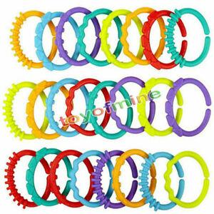 24x-BEIssRINGE-SET-Baby-Spielzeug-Rassel-Beissring-Greiflinge-Ringe-Zahnungshilfe