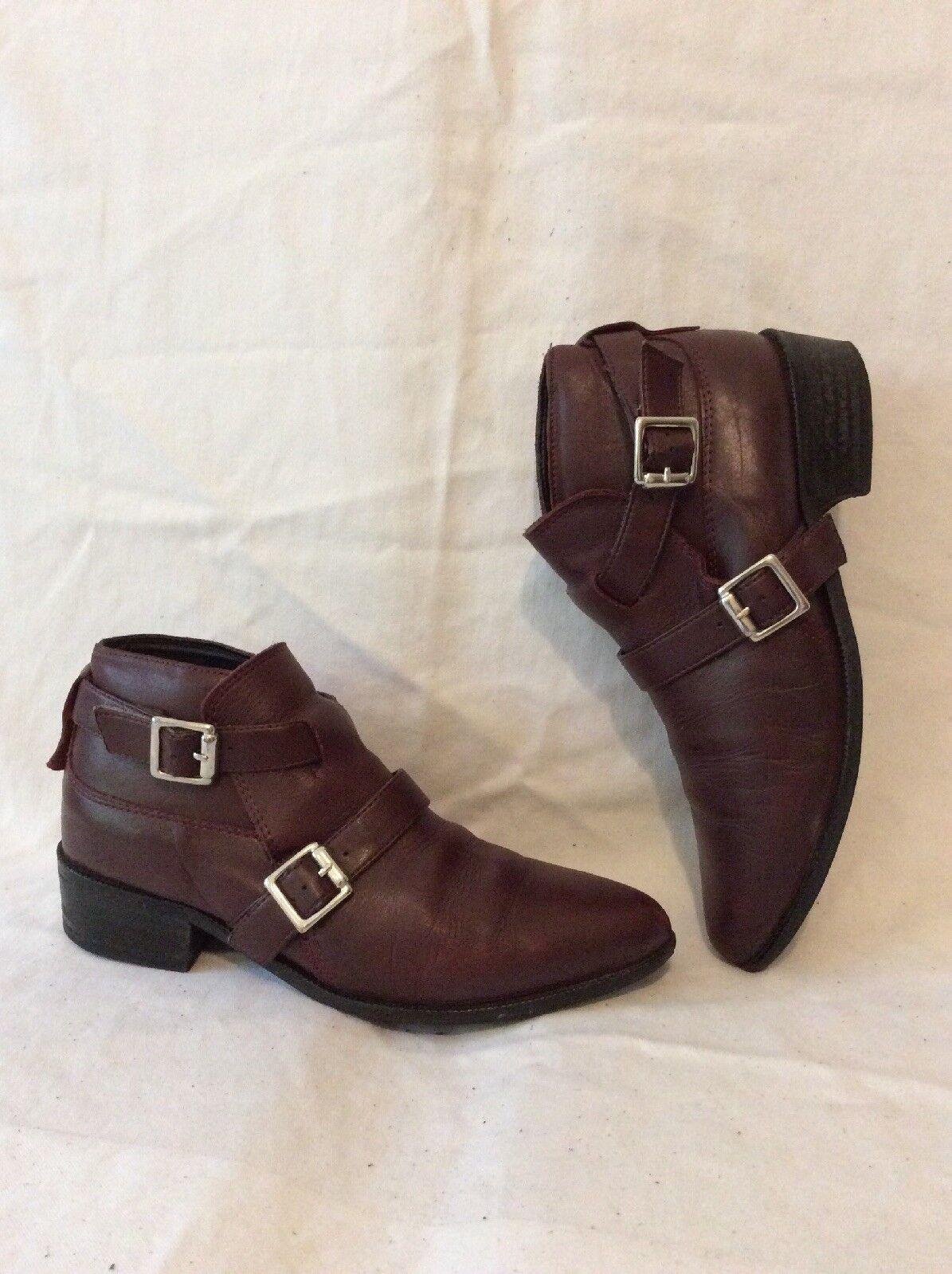 Zara Basic Maroon Ankle Leather Boots Size 36