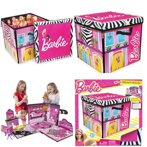 Barbie Doll Storage Dream House Playset Toy Box Playmat 40 Dolls Expandable Bin
