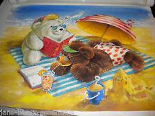 Gund - Snuffles Original Signed Watercolor - Beach Scene