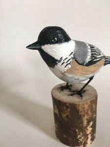 New-England-Home-Decor-Hand-Carved-Chickadee-Carving-Songbird-Maine-USA