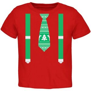 Ugly-Christmas-Sweater-Tie-With-Suspenders-Red-Toddler-T-Shirt-Top