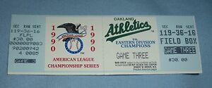 1990 Alcs Match 3 Complet Billet A's Contre Rouge Sox Denis Eckersley