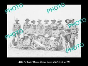 OLD-POSTCARD-SIZE-PHOTO-OF-AIF-ANZAC-1st-LIGHT-HORSE-SIGNAL-TROOP-c1917
