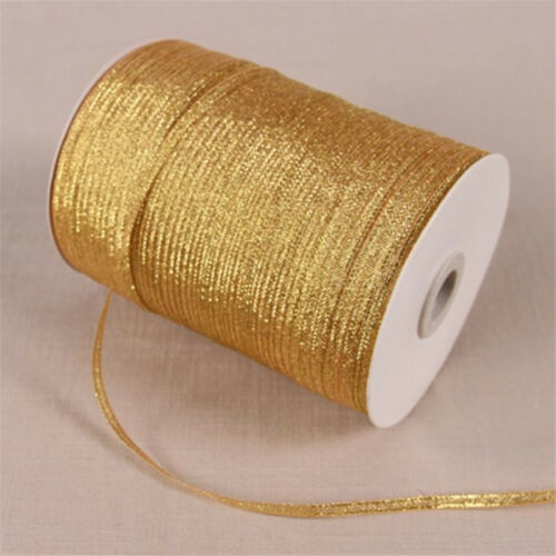 20 Yards 4mm 1//8/'/' Metallic Sparkle Glitter Ribbons Christmas Packaging Gift