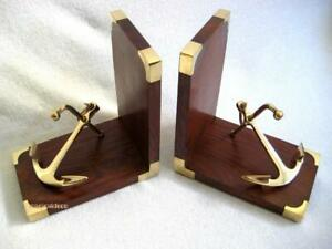 Maritime-Bookends-Wooden-Brass-With