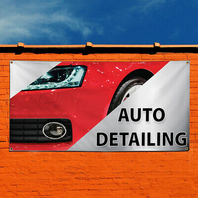 44inx110in One Banner 8 Grommets Multiple Sizes Available Vinyl Banner Sign Car Wash Blue Red White Automotive Car Marketing Advertising Blue