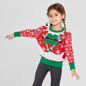 Details about WELL WORN Toddler Girls\u0027 Elf Ugly Christmas Sweater Red Green
