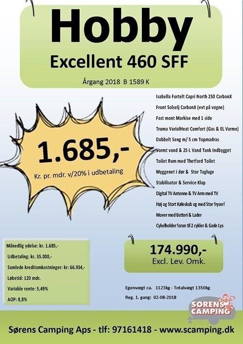 Hobby Excellent 460 Sff, 2018, kg egenvægt 1123