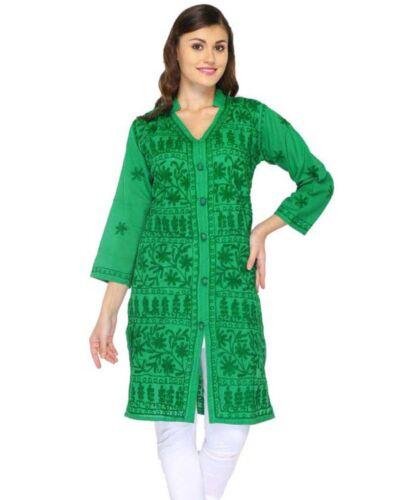 New Indian Lucknawi Chikankari Cotton Front Button Aari Kurti Ethnic Wear Kurta