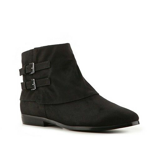 Impo Abbott Womens Flat Heel Ankle Boots Black Suedy Buckles 6