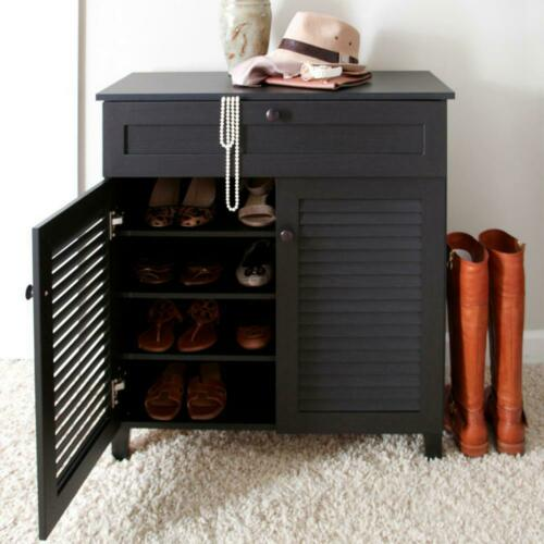 Wooden Shoe Shelves Storage Cabinet Dark Brown Espresso Slatted Doors Drawer
