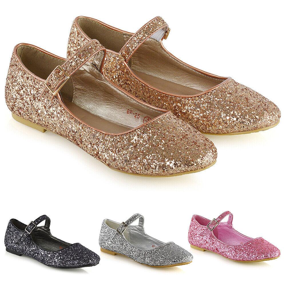 Womens Wedding Bridal Shoes Glitter Sparkly Ladies Mary Jane Bridesmaid Pumps