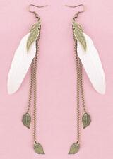 F1931 Fashion White Feather Bronze Leaf Chain Light Dangle Earrings Hot