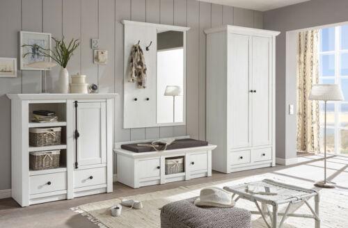 Garderobe Set weiß Pinie Landhaus Flurgarderobe 3-tlg mit Bank Diele Flur Hooge