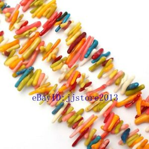 15-20mm-Natural-Multicolor-Coral-Branch-Shape-Gemstone-Loose-Beads-Strand-15-034