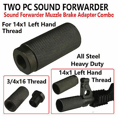 7.62x39mm 2PC Sound Forwarder 3/4x16 Thread Combo W Muzzle Brake 14x1 LH Adapter