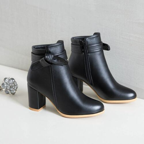 Princess Sweety Ankle Boots Womens Pretty Bowknot Block Heels Round Toe Zipped