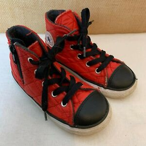 Red Quilted High Top Tennis Shoes