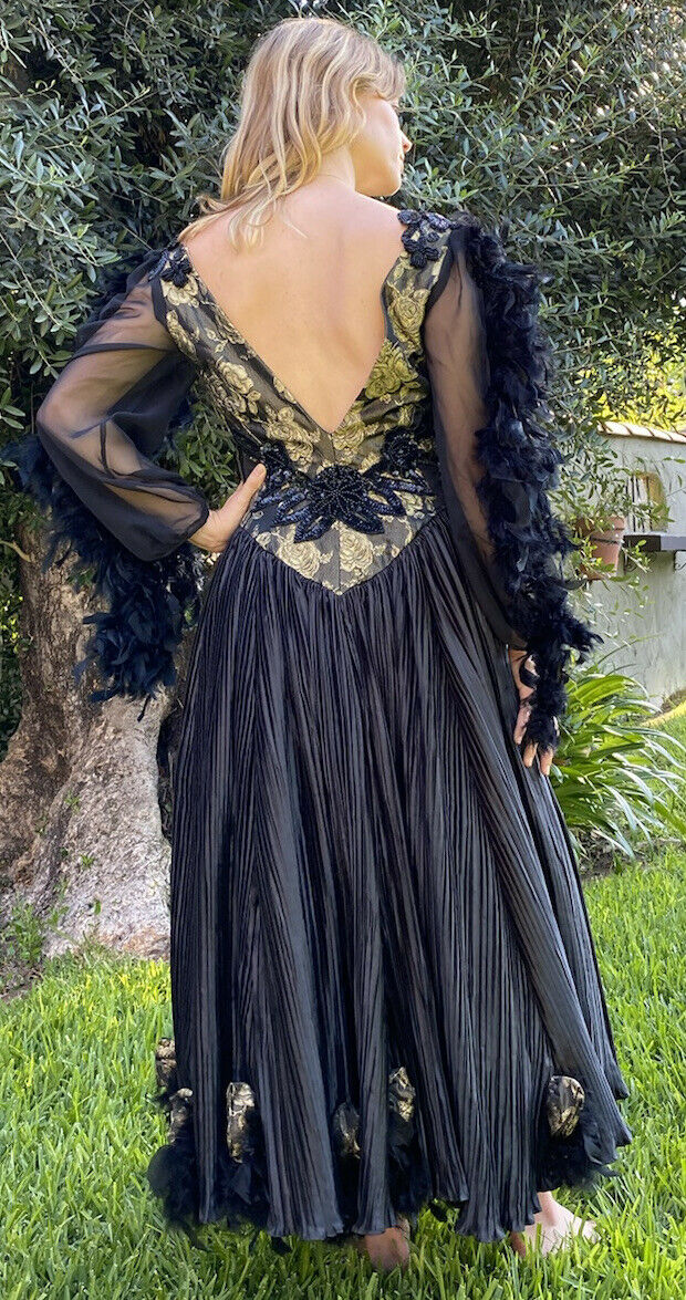 vintage black beaded feathered ball gown - image 2