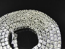 """1 Row Men's Chain with natural diamonds in Sterling Silver White Gold Finish 34"""""""