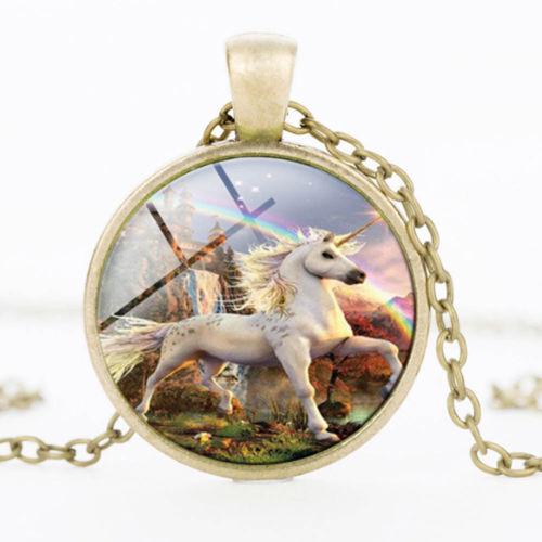 Einhorn Cabochon Silber versilbert Glas Kette Anh nger Halskette Neueste dudu8*D