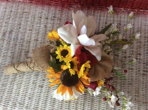 Wedding flowers bouquet bridal bouquet decorations sunflowers red teal 6 bouquet
