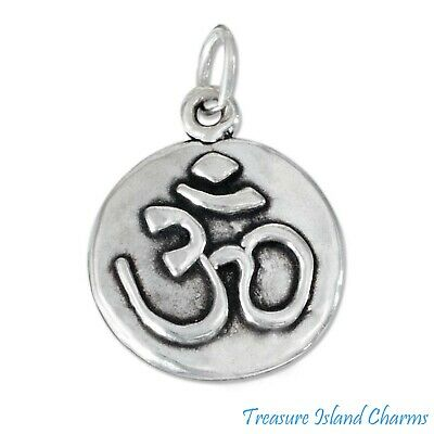 Aum Om yoga Hindu Buddhism 925 Sterling Silver Charm Pendant w Spacer Necklace
