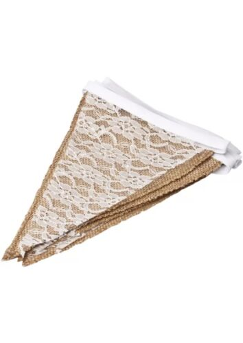English Loose Weave Hessian /& White Lace Bunting