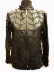 Black-Leather-Leaf-Jacket-Women-All-Colors-Sizes-Genuine-Zip-Short-Handmade-D1