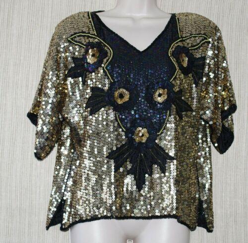 Jewel Queen Pure Silk Black Gold V Neck Short Slee