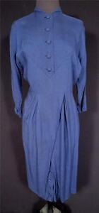 VERY-RARE-FRENCH-1940-039-S-1950-039-S-VINTAGE-BLUE-RAYON-DRESS-EXC-COND-SIZE-6